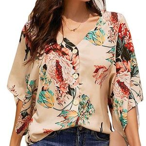 Silk like blouse with wide sleeves